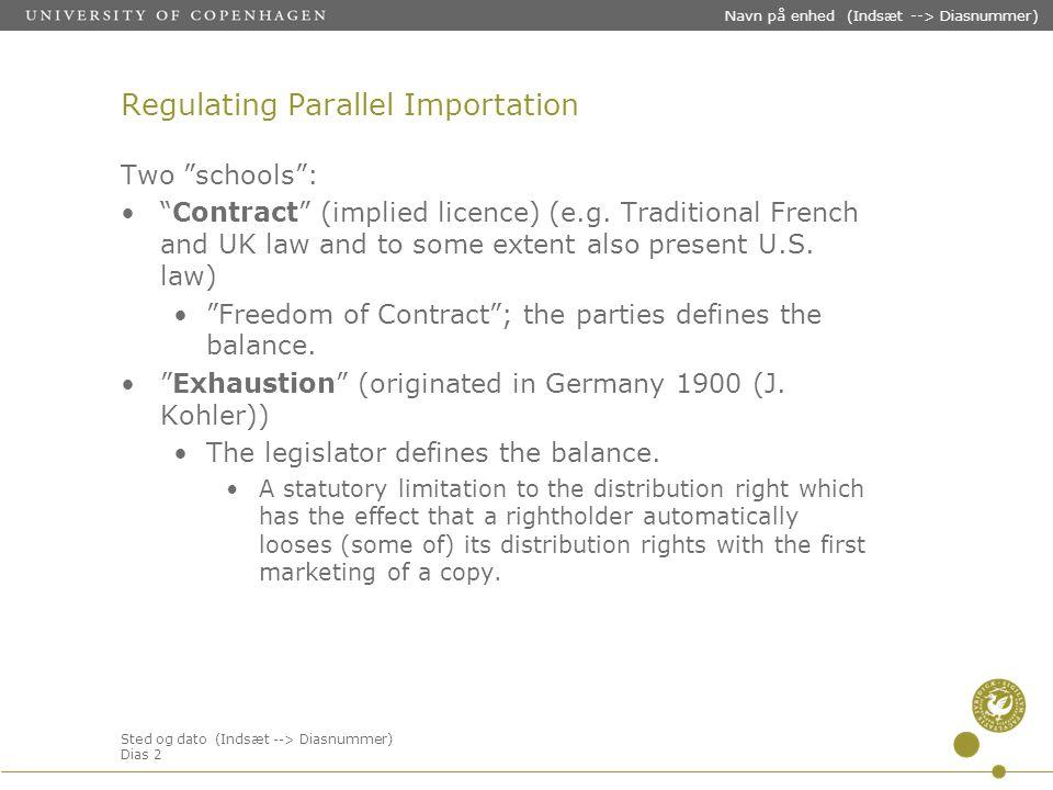 Sted og dato (Indsæt --> Diasnummer) Dias 2 Navn på enhed (Indsæt --> Diasnummer) Regulating Parallel Importation Two schools : Contract (implied licence) (e.g.