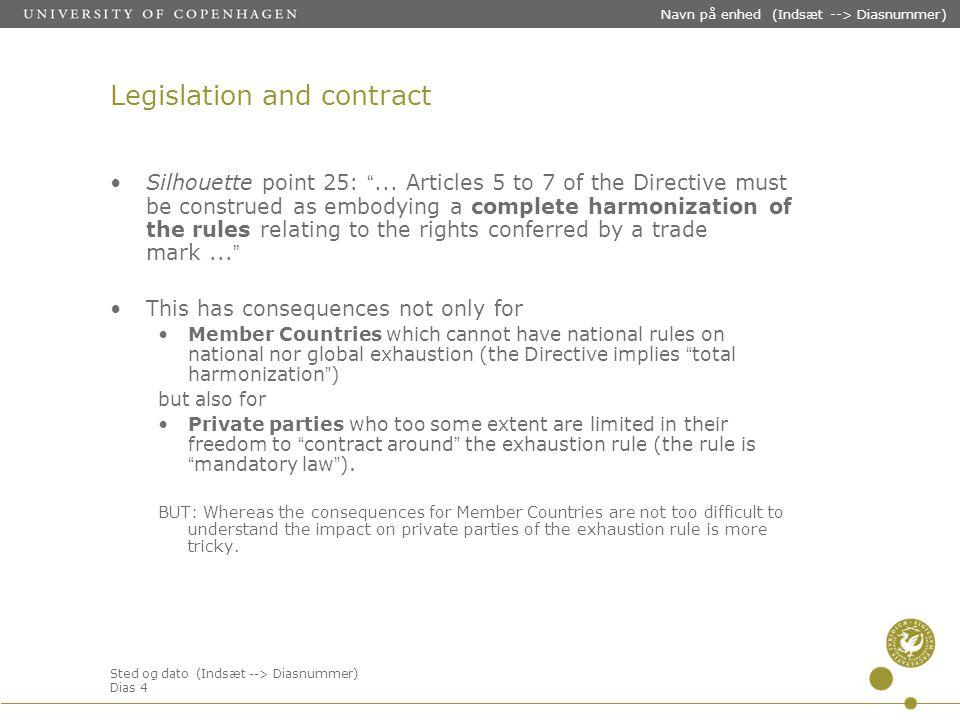Sted og dato (Indsæt --> Diasnummer) Dias 4 Navn på enhed (Indsæt --> Diasnummer) Legislation and contract Silhouette point 25: ...