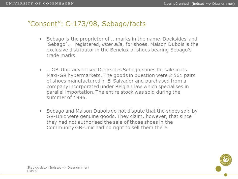 Sted og dato (Indsæt --> Diasnummer) Dias 6 Navn på enhed (Indsæt --> Diasnummer) Consent : C-173/98, Sebago/facts Sebago is the proprietor of..