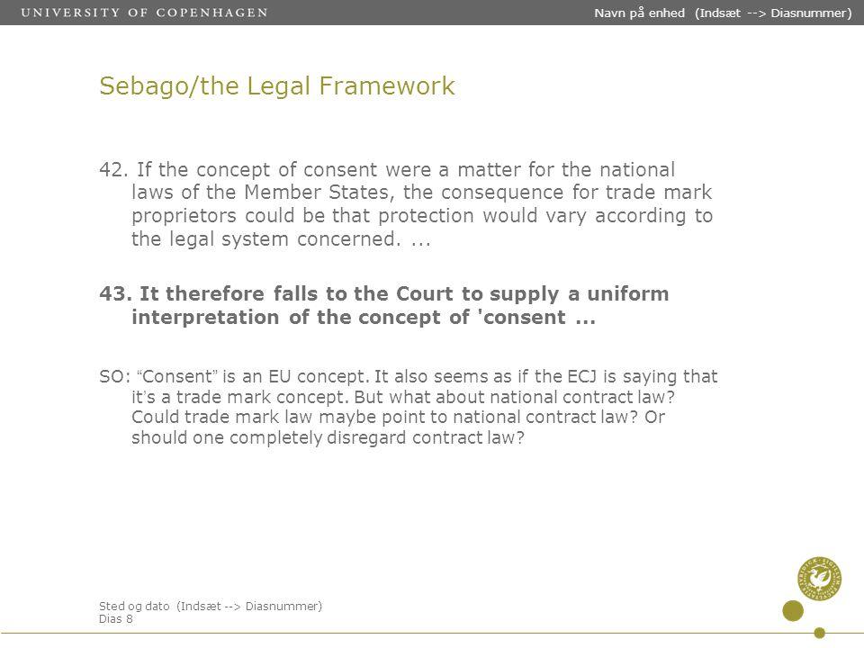 Sted og dato (Indsæt --> Diasnummer) Dias 8 Navn på enhed (Indsæt --> Diasnummer) Sebago/the Legal Framework 42.
