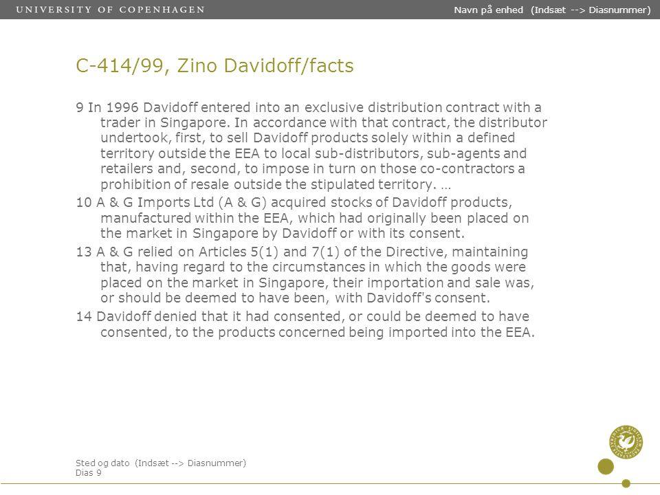 Sted og dato (Indsæt --> Diasnummer) Dias 9 Navn på enhed (Indsæt --> Diasnummer) C-414/99, Zino Davidoff/facts 9 In 1996 Davidoff entered into an exclusive distribution contract with a trader in Singapore.