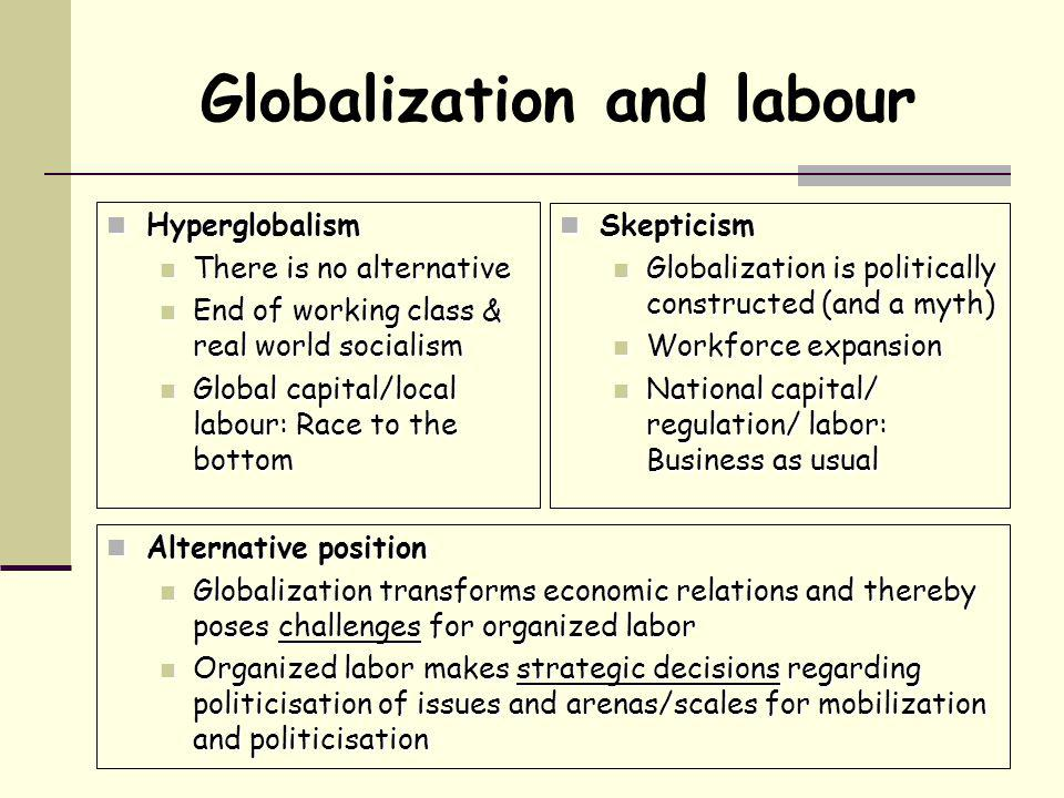 Globalization and labour Hyperglobalism Hyperglobalism There is no alternative There is no alternative End of working class & real world socialism End