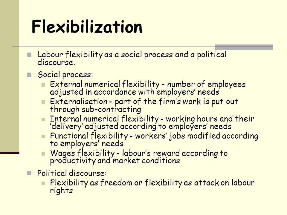 Flexibilization Labour flexibility as a social process and a political discourse.