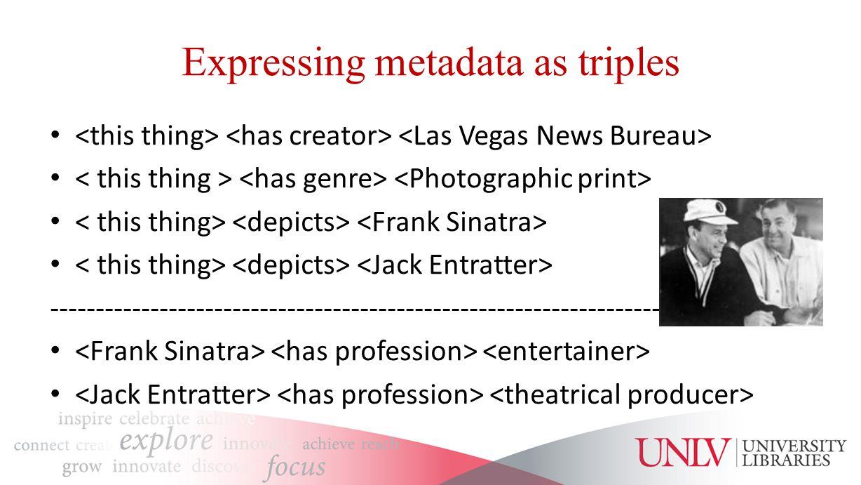Expressing metadata as triples -------------------------------------------------------------------