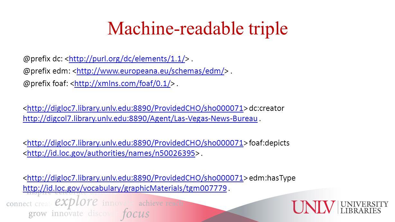 Machine-readable triple @prefix dc:.http://purl.org/dc/elements/1.1/ @prefix edm:.http://www.europeana.eu/schemas/edm/ @prefix foaf:.http://xmlns.com/foaf/0.1/ dc:creator http://digcol7.library.unlv.edu:8890/Agent/Las-Vegas-News-Bureau.http://digloc7.library.unlv.edu:8890/ProvidedCHO/sho000071 http://digcol7.library.unlv.edu:8890/Agent/Las-Vegas-News-Bureau foaf:depicts.http://digloc7.library.unlv.edu:8890/ProvidedCHO/sho000071http://id.loc.gov/authorities/names/n50026395 edm:hasType http://id.loc.gov/vocabulary/graphicMaterials/tgm007779.http://digloc7.library.unlv.edu:8890/ProvidedCHO/sho000071 http://id.loc.gov/vocabulary/graphicMaterials/tgm007779