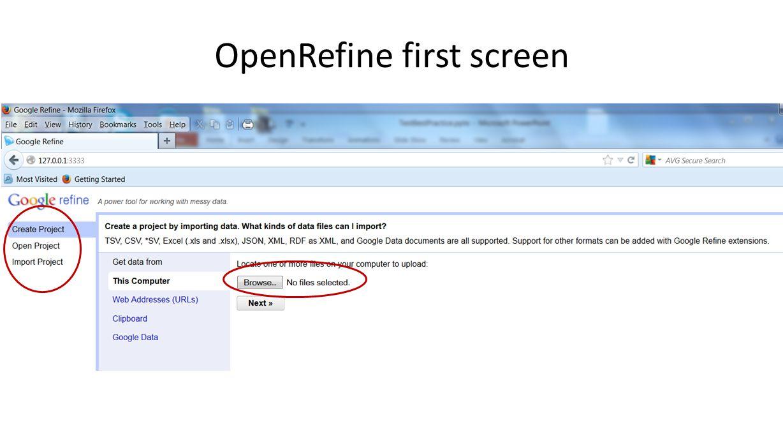 OpenRefine first screen