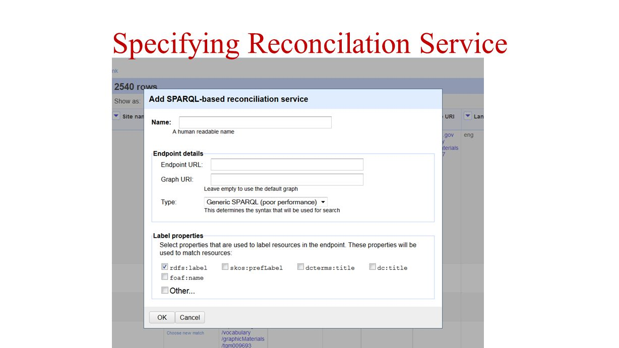 Specifying Reconcilation Service