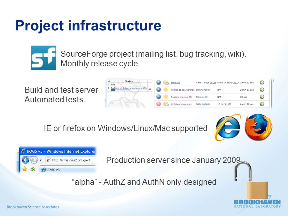 Project infrastructure Production server since January 2009 alpha - AuthZ and AuthN only designed Build and test server Automated tests IE or firefox on Windows/Linux/Mac supported SourceForge project (mailing list, bug tracking, wiki).