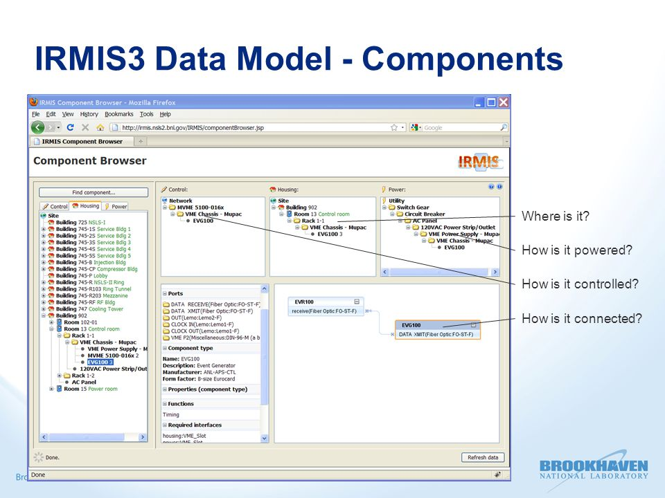 IRMIS3 Data Model - Components  Distinguishes between Component instance - physical component with inventory information associated with it Component installation - set of instructions of how a particular component is installed (housed, powered, controlled, cabled, …)  Independent concepts (can track an instance in the inventory without having it installed; can track an installation without caring which instance)