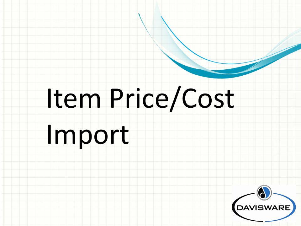 Item Price/Cost Import