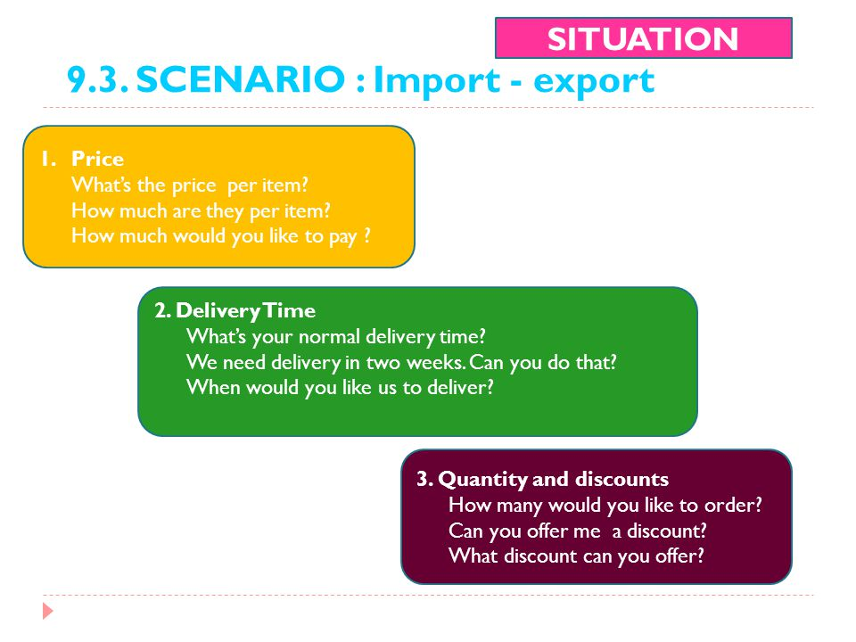 9.3. SCENARIO : Import - export SITUATION 1.Price What's the price per item? How much are they per item? How much would you like to pay ? 2. Delivery