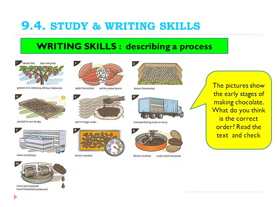 9.4. STUDY & WRITING SKILLS The pictures show the early stages of making chocolate. What do you think is the correct order? Read the text and check WR