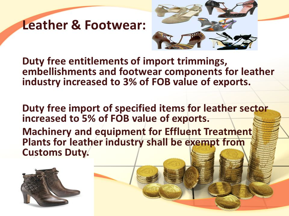 Leather & Footwear: Duty free entitlements of import trimmings, embellishments and footwear components for leather industry increased to 3% of FOB value of exports.