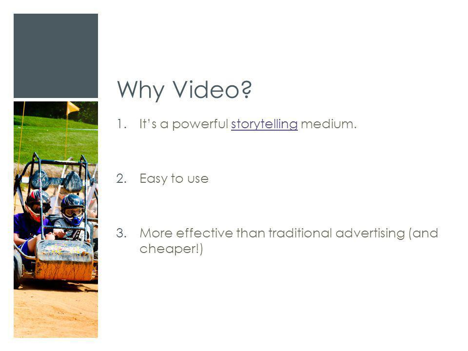 Why Video? 1.It's a powerful storytelling medium.storytelling 2.Easy to use 3.More effective than traditional advertising (and cheaper!)