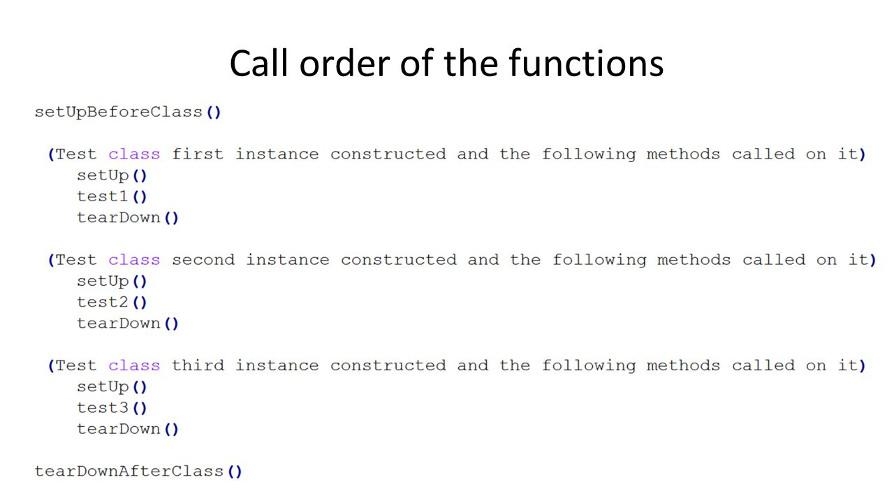 Call order of the functions