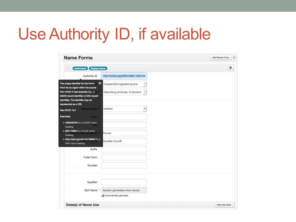 Use Authority ID, if available