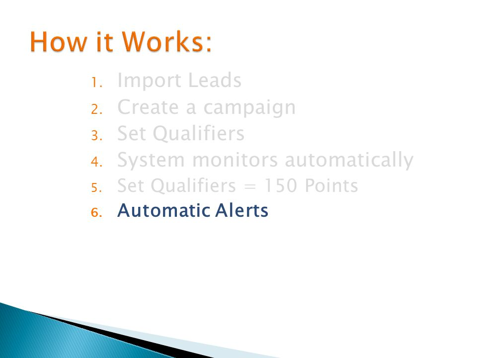 1. Import Leads 2. Create a campaign 3. Set Qualifiers 4.