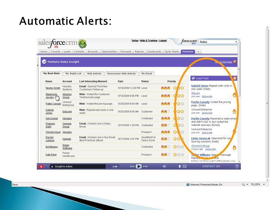 Automatic Alerts:
