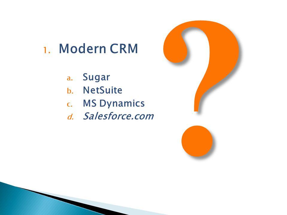 1. Modern CRM a. Sugar b. NetSuite c. MS Dynamics d. Salesforce.com