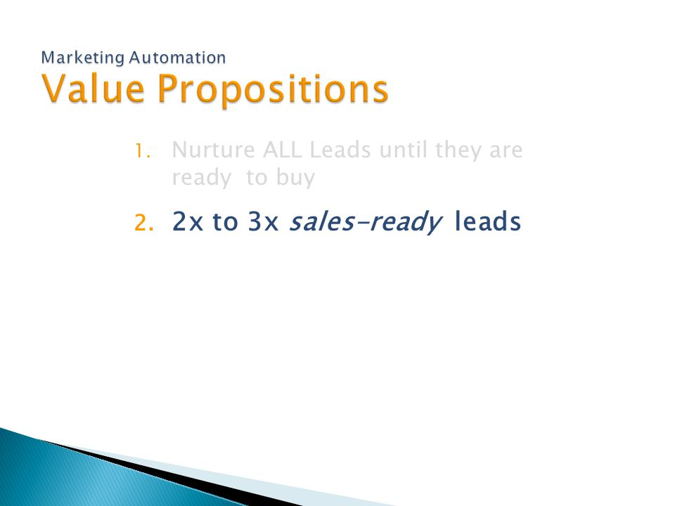 1. Nurture ALL Leads until they are ready to buy 2. 2x to 3x sales-ready leads