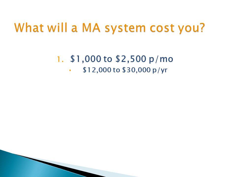 1. $1,000 to $2,500 p/mo $12,000 to $30,000 p/yr