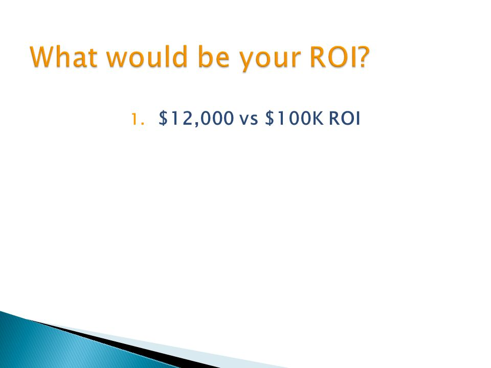 1. $12,000 vs $100K ROI