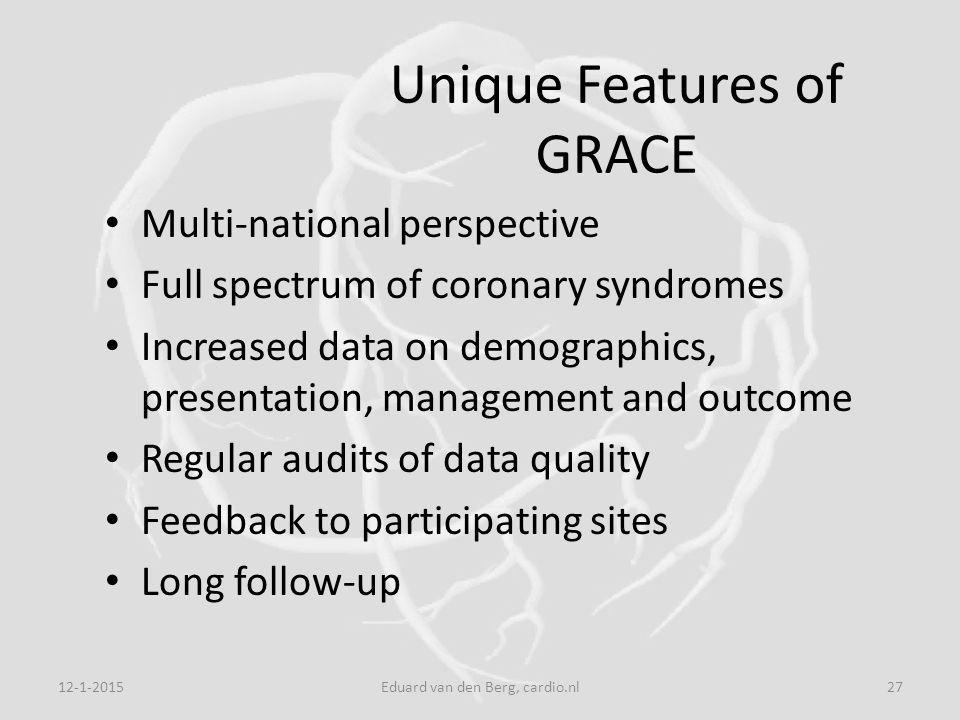 12-1-2015Eduard van den Berg, cardio.nl27 Unique Features of GRACE Multi-national perspective Full spectrum of coronary syndromes Increased data on demographics, presentation, management and outcome Regular audits of data quality Feedback to participating sites Long follow-up
