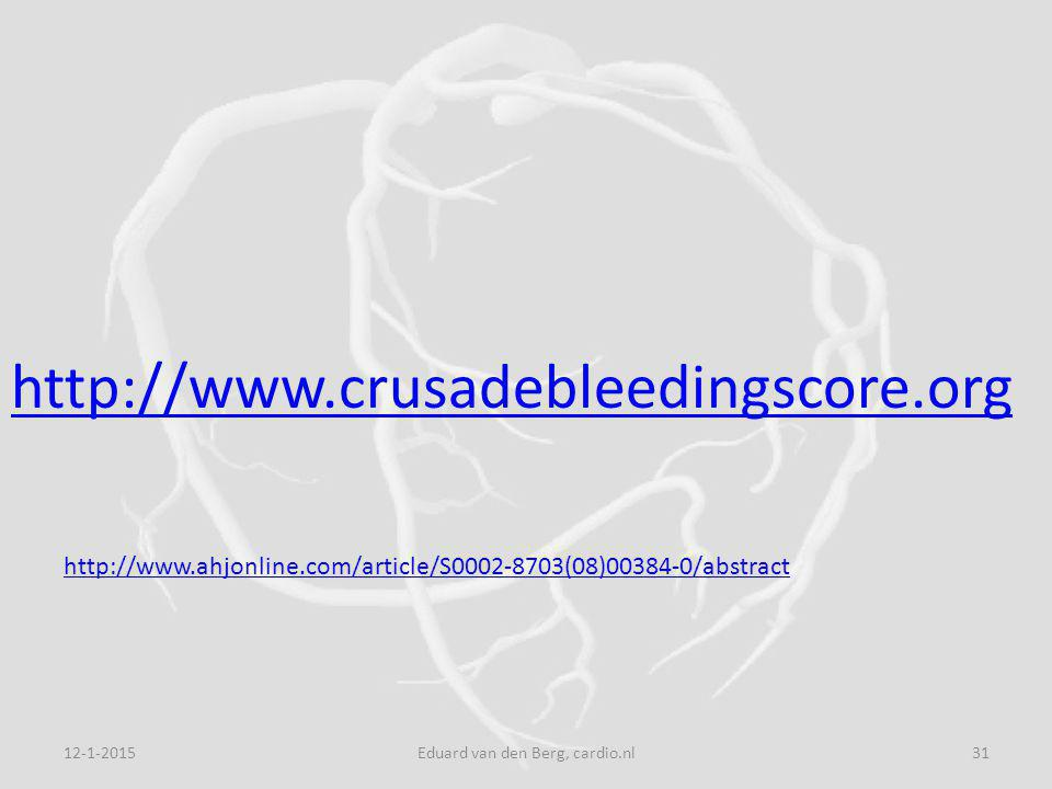 12-1-2015Eduard van den Berg, cardio.nl31 http://www.crusadebleedingscore.org http://www.ahjonline.com/article/S0002-8703(08)00384-0/abstract