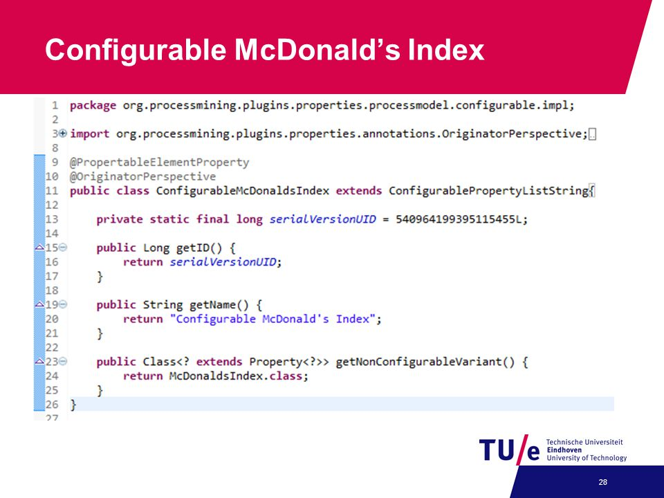 Configurable McDonald's Index 28