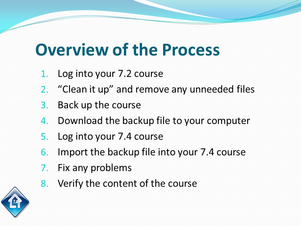 7.4 Overview of the Process 1. Log into your 7.2 course 2.