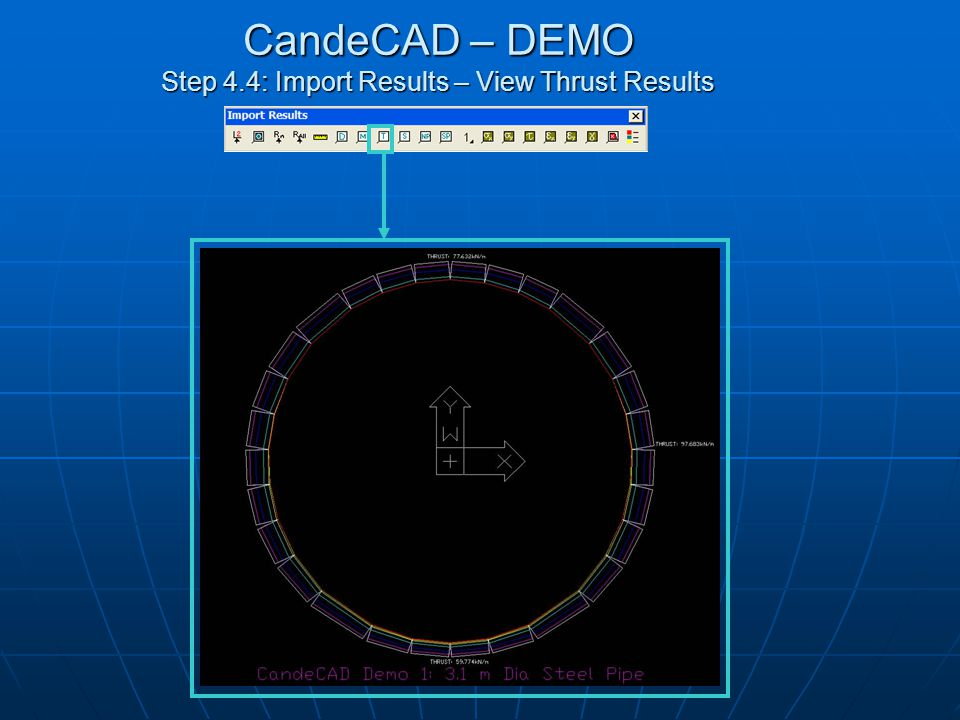 CandeCAD – DEMO Step 4.5: Import Results – View Shear Results