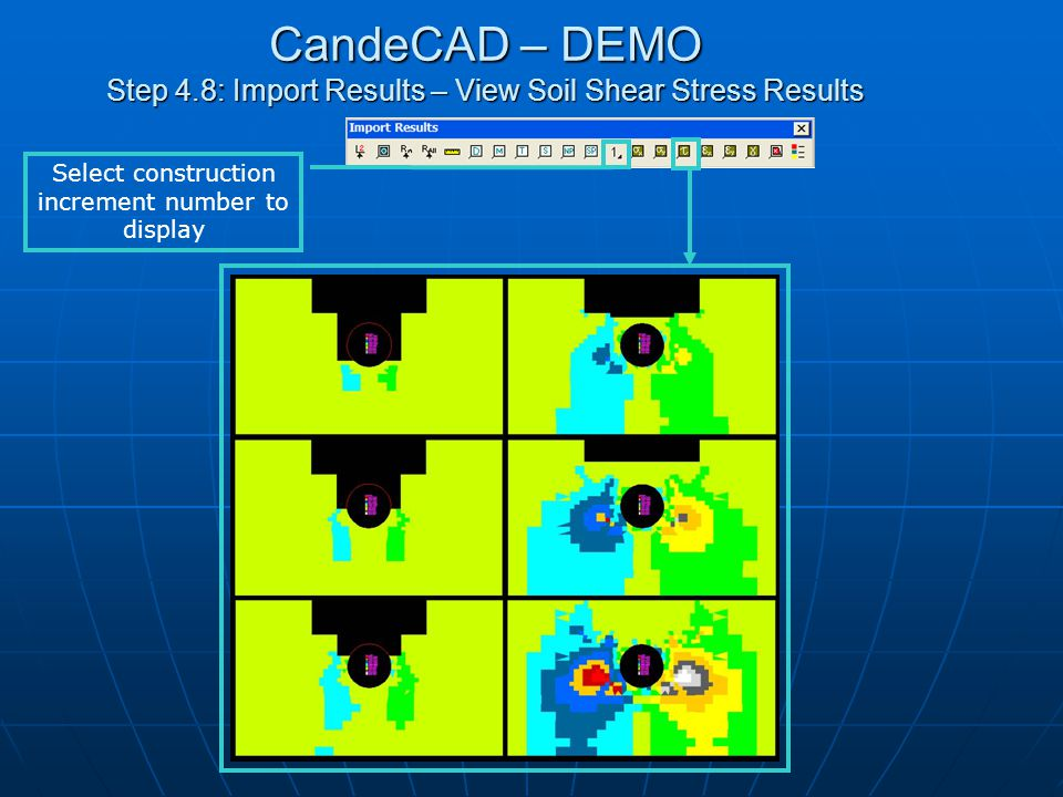 CandeCAD – DEMO Step 4.9: Import Results – Soil Horizontal, Vertical and Shear Strain Results