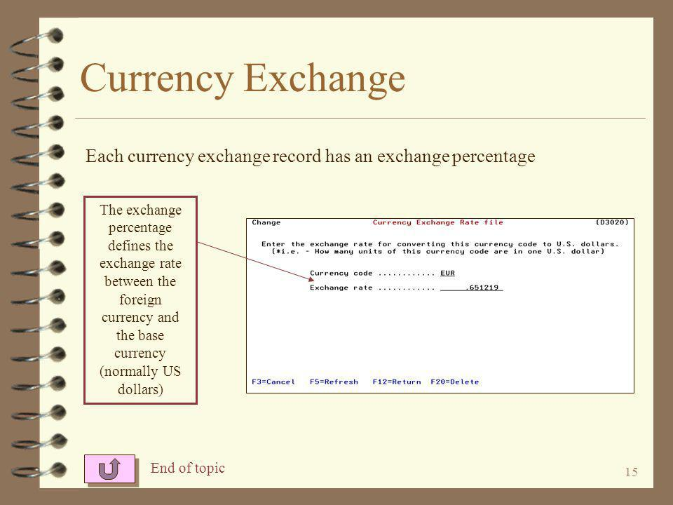 15 Currency Exchange The exchange percentage defines the exchange rate between the foreign currency and the base currency (normally US dollars) Each currency exchange record has an exchange percentage End of topic
