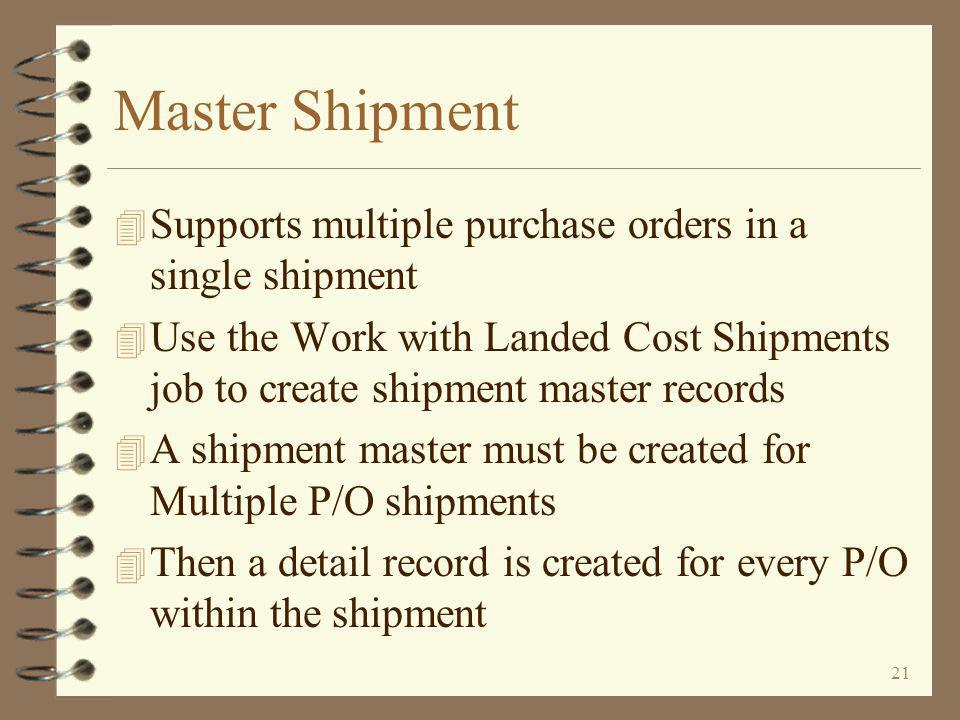 20 The Shipment 4 A shipment may be for –A single purchase order –Multiple purchase orders