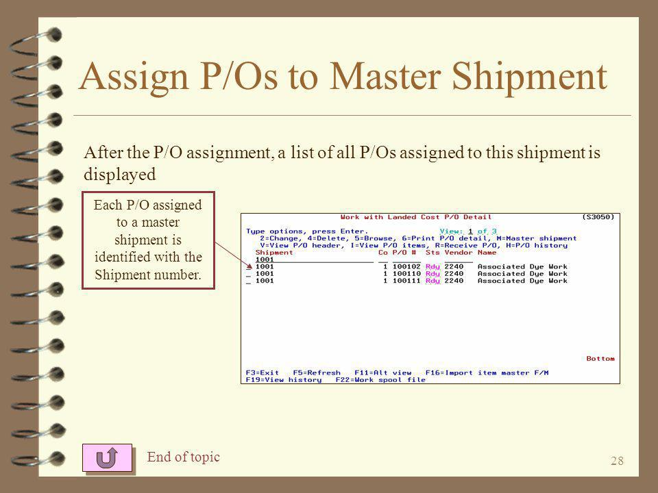 27 Assign P/Os to Master Shipment The shipment that the user is working with is displayed on line 2.