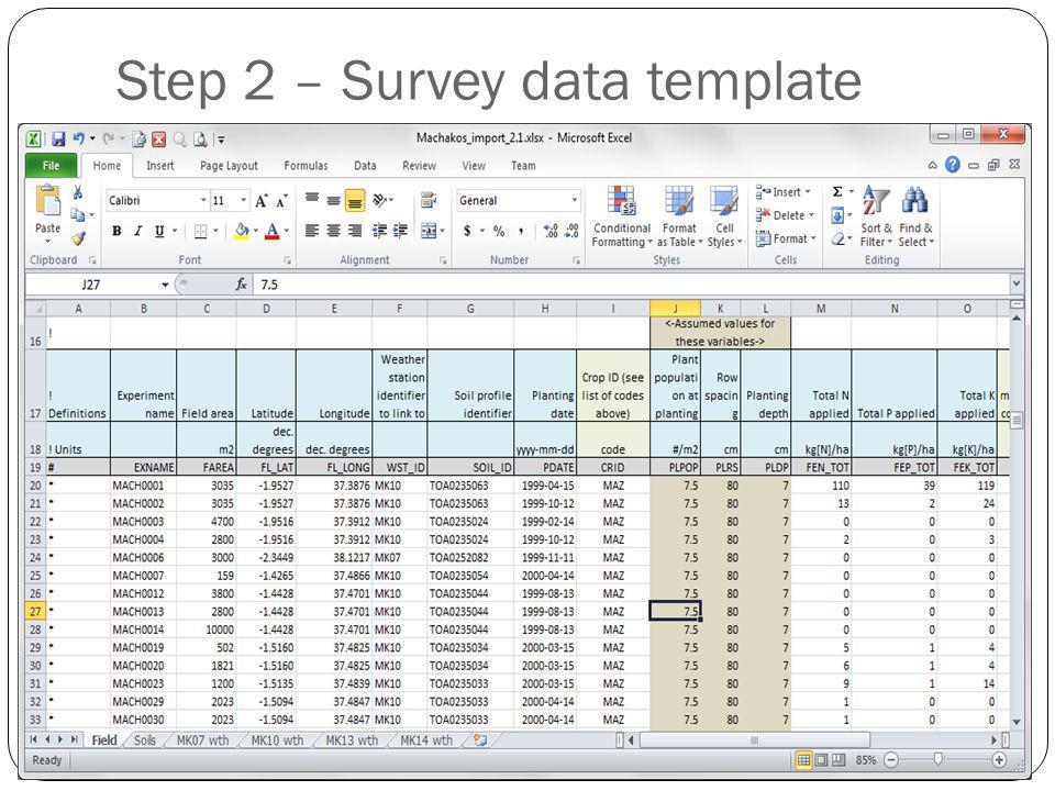 Step 2 – Survey data template