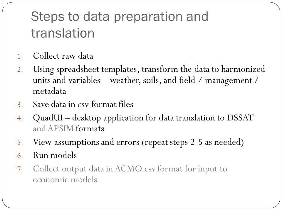 Steps to data preparation and translation 1. Collect raw data 2.