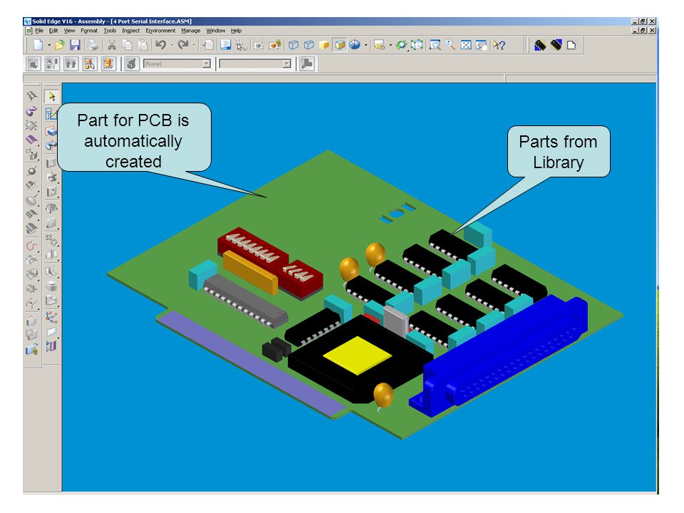 Parts from Library Part for PCB is automatically created