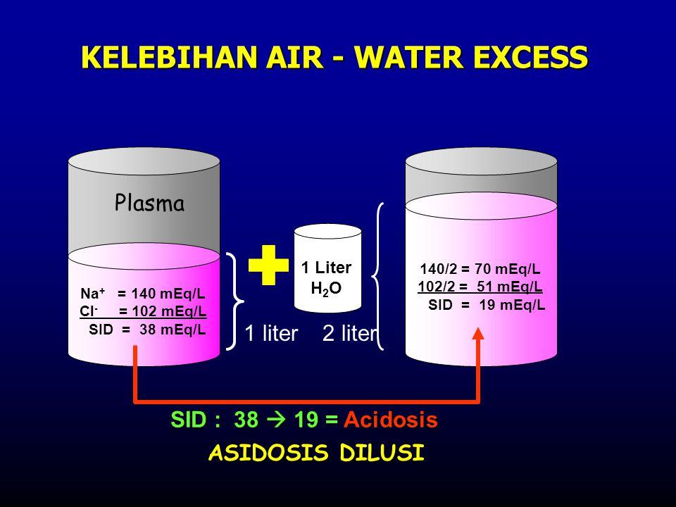 Na + = 140 mEq/L Cl - = 102 mEq/L SID = 38 mEq/L 140/2 = 70 mEq/L 102/2 = 51 mEq/L SID = 19 mEq/L 1 liter 2 liter KELEBIHAN AIR - WATER EXCESS 1 Liter H 2 O SID : 38  19 = Acidosis ASIDOSIS DILUSI Plasma