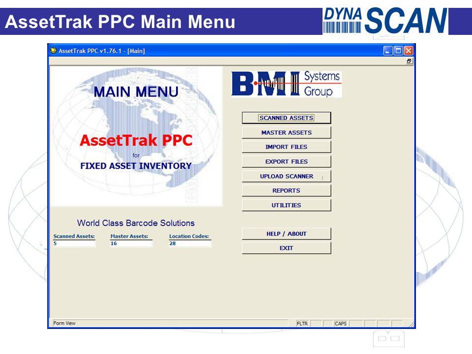 AssetTrak PPC Main Menu