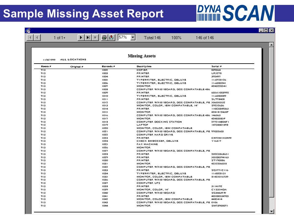 Sample Missing Asset Report
