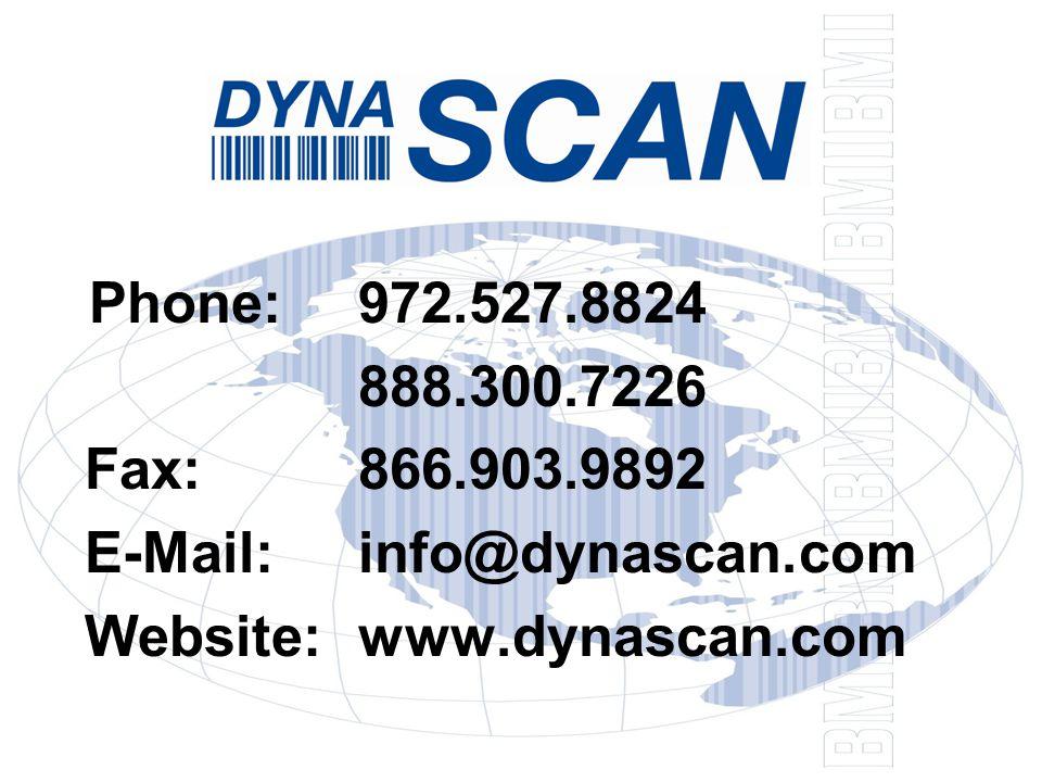 Phone:972.527.8824 888.300.7226 Fax:866.903.9892 E-Mail:info@dynascan.com Website:www.dynascan.com