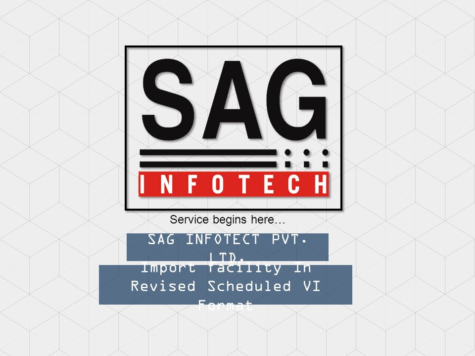Import facility In Revised Scheduled VI Format SAG INFOTECT PVT. LTD. Service begins here…