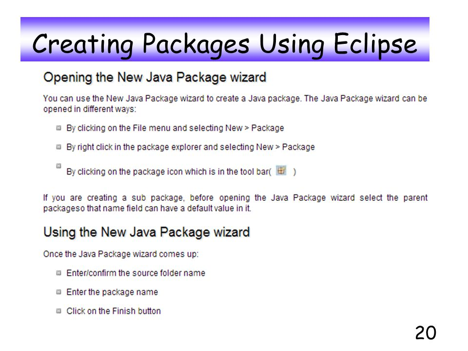 Creating Packages Using Eclipse 20