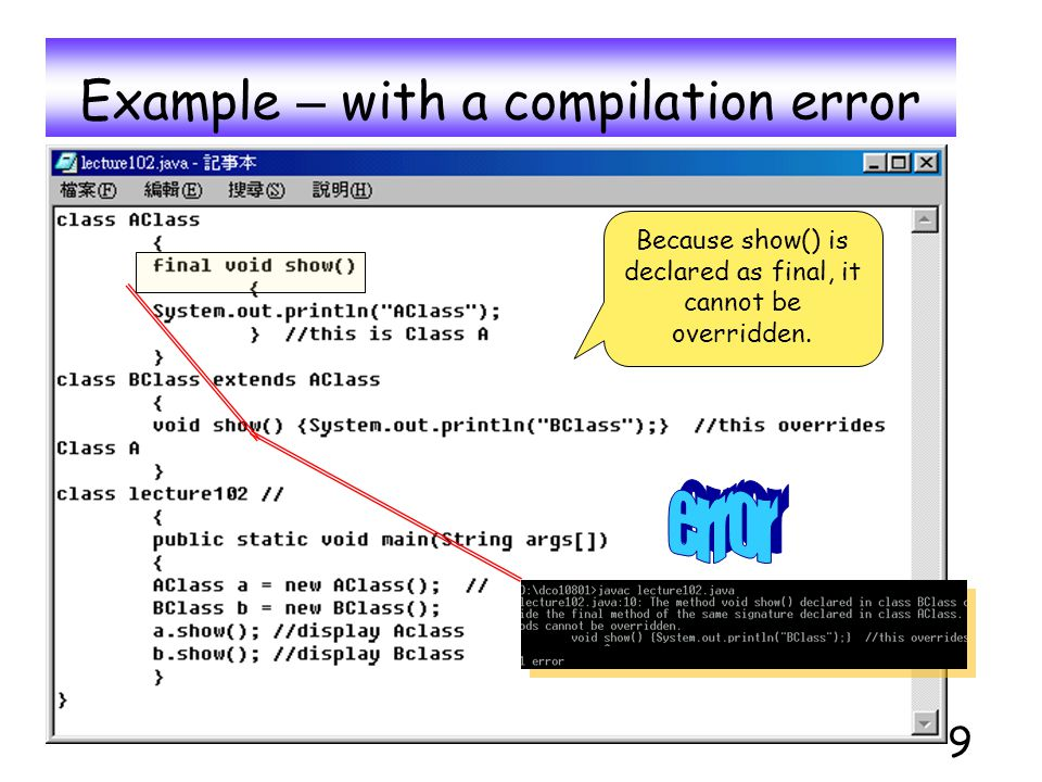9 Example – with a compilation error Because show() is declared as final, it cannot be overridden.