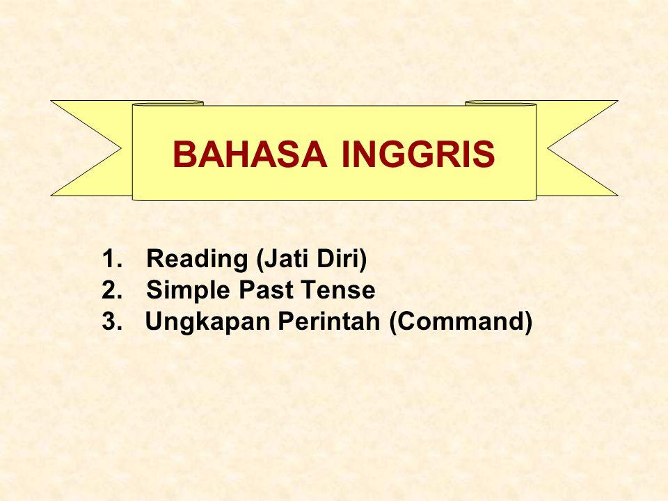 BAHASA INGGRIS 1.Reading (Jati Diri) 2.Simple Past Tense 3. Ungkapan Perintah (Command)