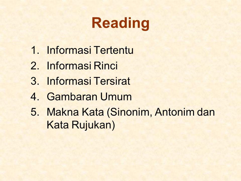 Reading 1.Informasi Tertentu 2.Informasi Rinci 3.Informasi Tersirat 4.Gambaran Umum 5.Makna Kata (Sinonim, Antonim dan Kata Rujukan)