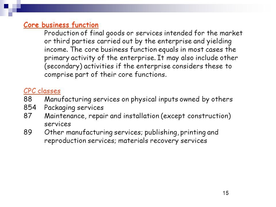 15 Core business function Production of final goods or services intended for the market or third parties carried out by the enterprise and yielding income.