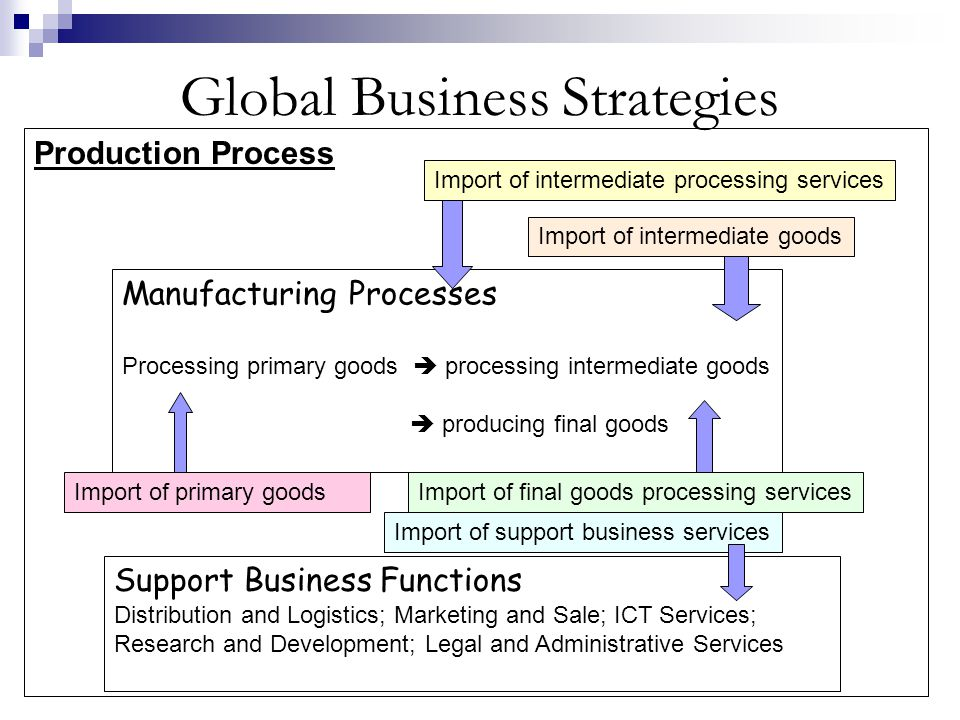 Global Business Strategies Production Process Manufacturing Processes Processing primary goods  processing intermediate goods  producing final goods Import of primary goods Import of intermediate goods Import of intermediate processing services Import of final goods processing services Support Business Functions Distribution and Logistics; Marketing and Sale; ICT Services; Research and Development; Legal and Administrative Services Import of support business services