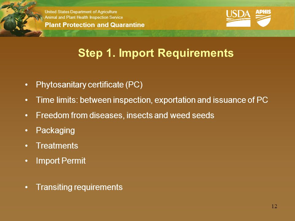 United States Department of Agriculture Animal and Plant Health Inspection Service Plant Protection and Quarantine 12 Step 1. Import Requirements Phyt